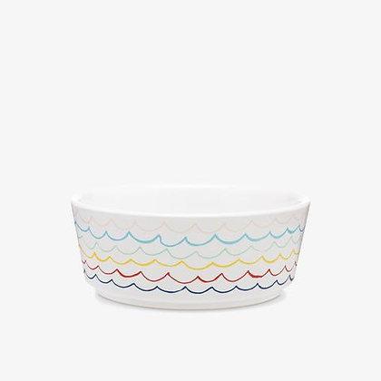 Sketched Wave Ceramic Dog Bowl