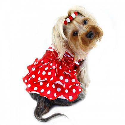 Sparkling Bow Ruffle Layered Dog Dress