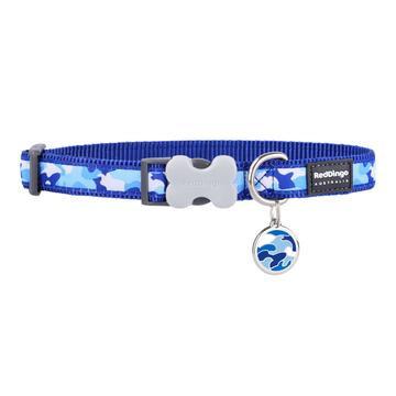 Camouflage Dark Blue Dog Collar & Tag Set