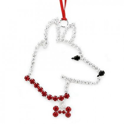 Crystal German Shepherd Christmas Ornament