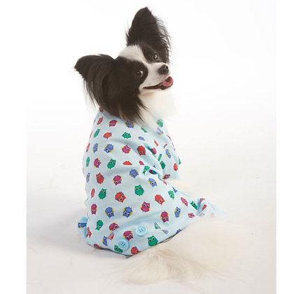 Blue Owl Print Dog Pajamas