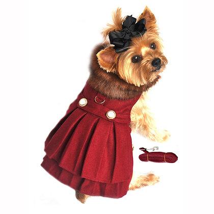 Wool Fur Trimmed Dog Harness Coat Burgundy