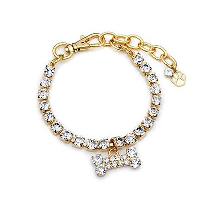 One Row Gold Crystal Dog Necklace With Bone Clear