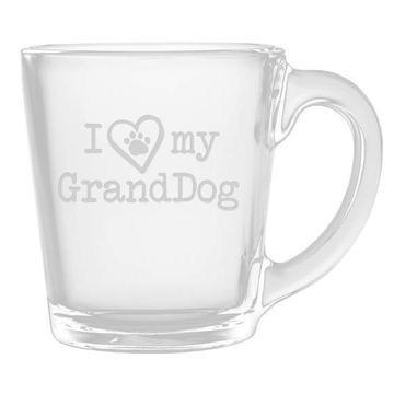 I Heart My Granddog Glass Coffee Mug Set