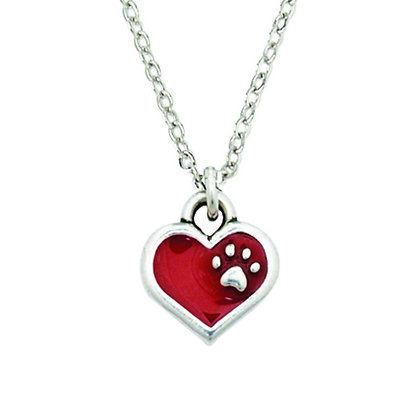 Red With Paw Bitty Necklace