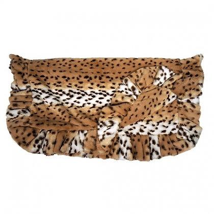 Ruffled Dog Blanket Faux Snow Leopard