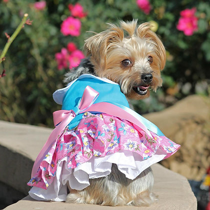 Plumeria Floral Dog Dress with Matching Leash