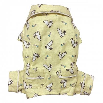 Hopping Bunny Flannel Dog Pajamas Yellow