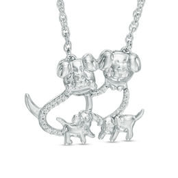 Sterling Silver Diamond Dog Family Necklace