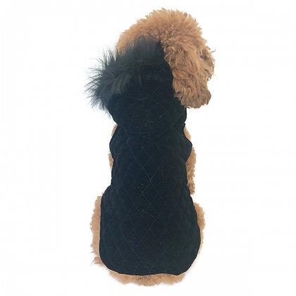 Rodeo Quilted Velvet Dog Coat Black