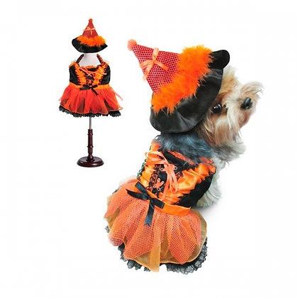 Orange and Black Witch Dog Costume With LED
