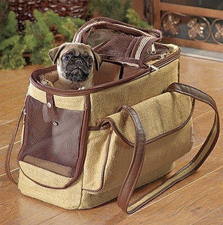 Eco-Friendly Burlap Dog Tote Carrier