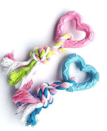 Rubber Puppy Teething Rope Chew Toy