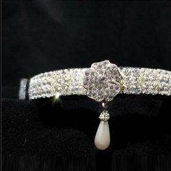 Pearl Drop Crystal Dog Collar