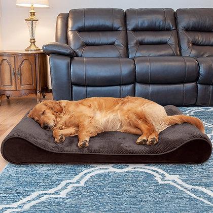 Minky Plush and Velvet Luxe Dog Lounger Bed