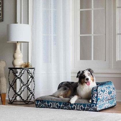 La-Z Boy Blue Jacquard Sadie Orthopedic Dog Sofa Bed