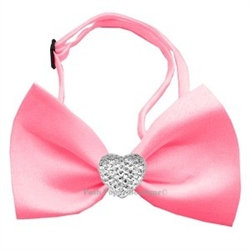 Clear Crystal Heart Dog Bow Tie Bubblegum Pink