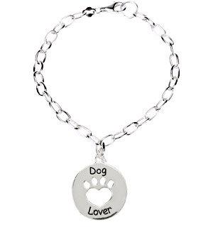 Heart U Back Dog Lover Sterling Silver Bracelet