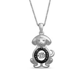 Unstoppable Love Black and White Diamond Accent Dog Pendant