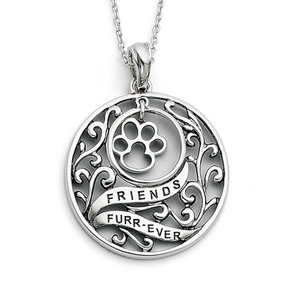 Sterling Silver Animal Friends Paw Print Necklace