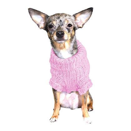 Angora Cable Knit Dog Sweater Pink