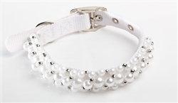 FabuCollar Beaded Dog Collar Pearl
