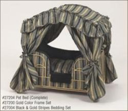 Black & Gold Stripes Canopy Dog Bed