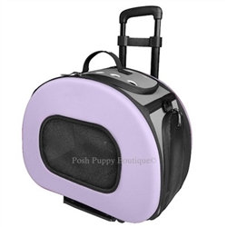 Tough-Shell Wheeled Collapsible Dog Carrier Purple