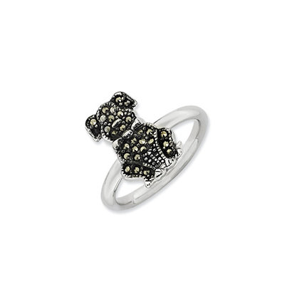 Sterling Silver Stackable Marcasite Dog Ring