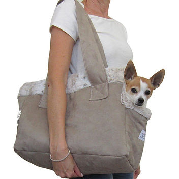 Microsuede Faux Fur  Dog Carrier Stone