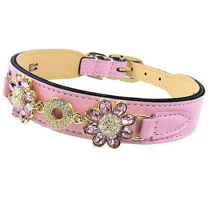 Fresh As A Daisy Collection Dog Collar Sweet Pink and Gold