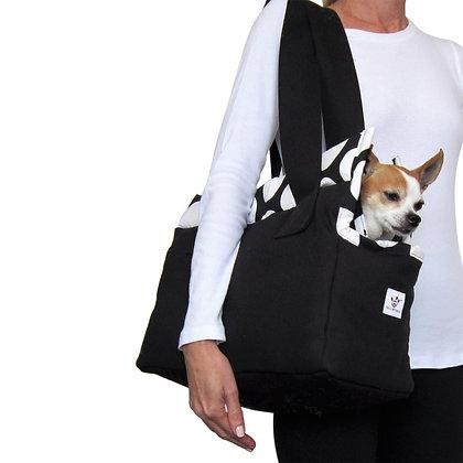 Cotton Canvas Dog Carrier Black/White Polka Dots