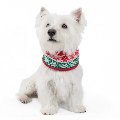 Red Christmas Snowflakes Infinity Dog Scarf