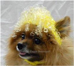 Crochet Curly Sue Wig Dog Hat