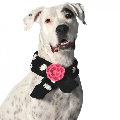 Black Polka Dot Dog Scarf