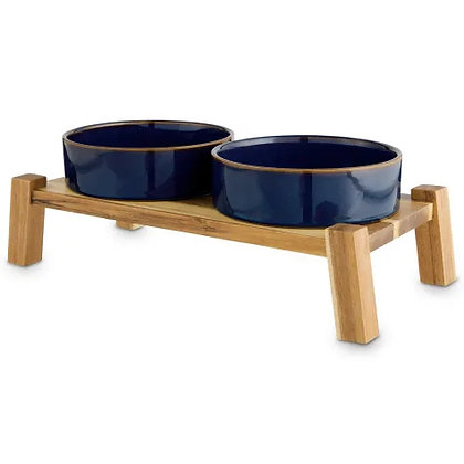Reddy Indigo  Ceramic & Wood Elevated Double Dog Diner