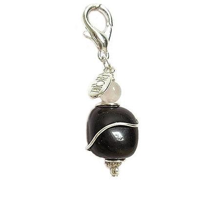 Black Obsidian Healing Dog Collar Charm