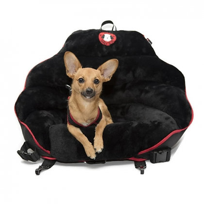 Original Pupsaver Black Plush Dog Car Seat