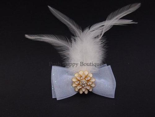 Couture Soiree Chignon Dog Hair Bow White