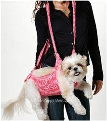 Puppoose Crochet Dog Sling Carrier Pink