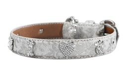 I Love Paw Wedding Dog Collar Silver
