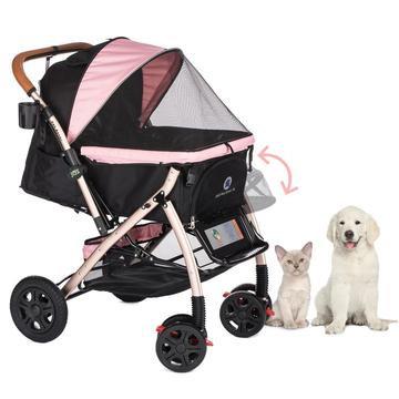 Pet Rover Extra Long Premium Dog Stroller Pink