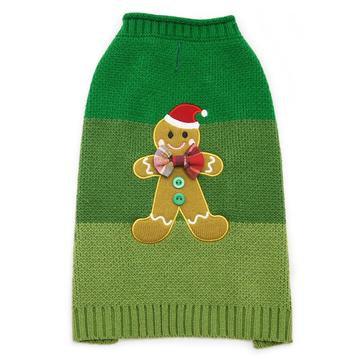 Gingerbread Dog Sweater Green