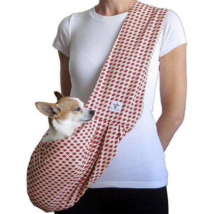 Red/Cream Houndstooth Sling Dog Carrier
