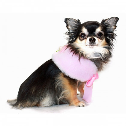 Luxurious Faux Fur Dog Cape Pink