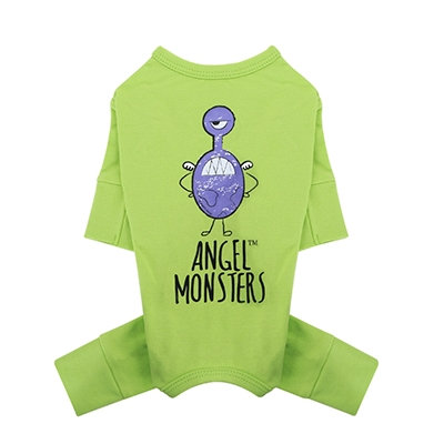 Angel Monsters Dog Overalls Green