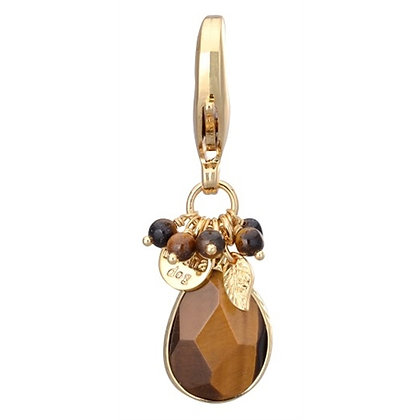 Faceted Dog Collar Charm Tiger Eye