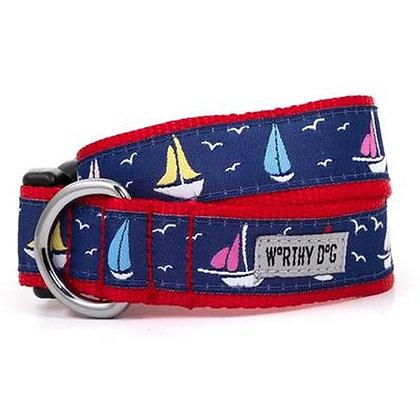 Sailboats Dog Collar and Lead
