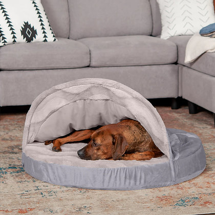 Snuggery Wave Fur and Velvet Burrow Pet Bed