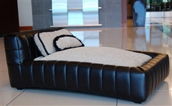 Modern Black Tufted Dog Bed